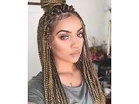 Hair extensions, box braids and cornrows