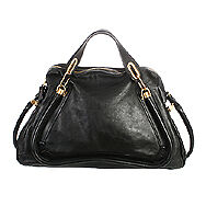23215-auth-CHLOE-black-leather-large-PARATY-Shoulder-Bag-Purse