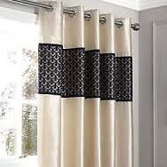 Black and Cream Franklin Curtains 72inch
