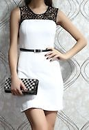 A Stylish Black & White Ladies Lacy Neck Short Skater Dress Formal Casual Party