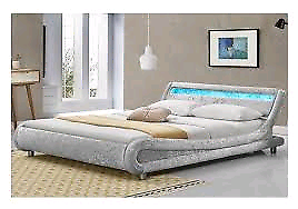 LED crushed velvet double bed
