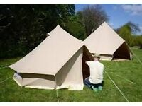 3 metre canvas Bell Tent, no centre pole so can fit a double mattress!