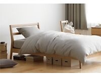 House clearance sale: Muji bed, contemporary table and chairs, small fridge/freezer, & utensils