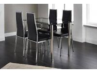 Andora Dining Set Clear Glass with Black Border