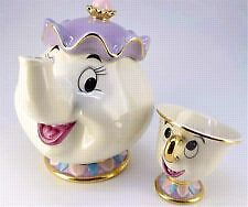 Disney beauty and the beast Mrs potts tea pot and chip teacup