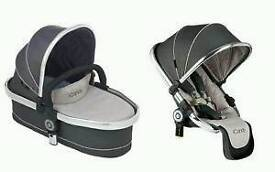 **I CANDY PEACH 3** Twin carrycot and Convertor seat (Truffle)