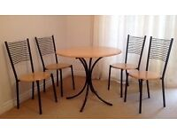 Stylish Bistro Style Round Pine Top Dining Table and 4 Chairs