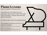 Piano Lessons for all budding pianists of any age and ability!