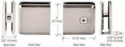 Brushed Nickel Beveled Hole-in-Glass Style Wall Mount Heavy-Duty Glass Clamp