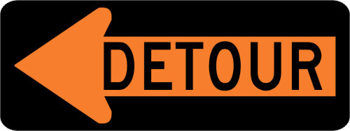 DETOUR SIGN w/ LEFT ARROW Street Road Construction Sign - 48 x 18 3M Reflective