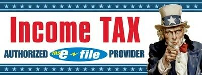 Income Tax Uncle Sam Vinyl Banner Sign - 3 X 8
