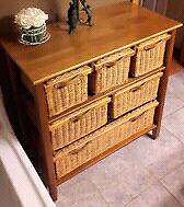 Wicker 6 drawer cabinet