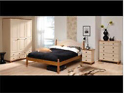 Full Bedroom Set Richmond Cream & Pine Bedroom Set bed, wardrobe, drawers and bedside cabinet