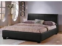 Single/Double/Kingsize Leather Bed with 8inch Dual-Sided Economy Mattress- Brand New