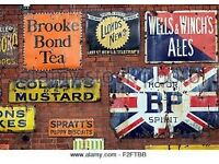 WANTED WANTED - old enamel or tin shop and garage advertising signs.