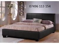 DOUBLE LEATHER BED & DOUBLE PADDED MATTRESS - DELIVERED - BRAND NEW