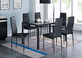 Black Glass Extending Dining Table + 6 Chairs (£1500+ new)