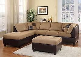 NEW YEAR  SALE ON NOW  3PCS SECTONAL WITH FREE OTTOMAN $579 LOWEST PRICES GUARANTEED