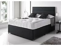 BRAND NEW-Divan Double Bed W/ Deep Quilted Mattress,Storage & Headboard Options