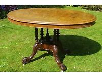 Victorian Burr Walnut, Oval, Antique Inlaid Loo Table