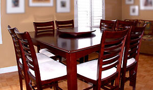 Pub Table and 8 Chairs with Lazy Susan