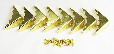 8pc. Decorative Brass Box Corners w/ Screws - a great finishing touch! 32-07-01 on Rummage