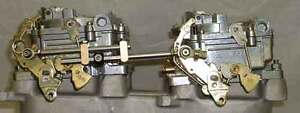 Adjustable 2-4s blower tunnel ram Dual Quad carb progressive throttle linkage