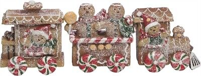 Sugared Gingerbread Cookie Peppermint Candy 3pc. TRAIN Christmas Village decor -