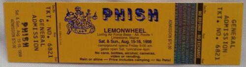 PHISH - VINTAGE LEMONWHEEL 8/15-16/1998 UNUSED WHOLE CONCERT TICKET #2