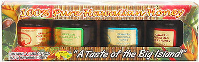 HAWAIIAN HONEY SAMPLER ~ 100% PURE ~ 4 JAR GIFT PACK