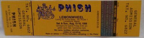 PHISH - VINTAGE LEMONWHEEL 8/15-16/1998 UNUSED WHOLE CONCERT TICKET