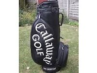 Electric golf trolley and charger also Callaway big leather bag