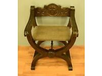 1751 !! ANTIQUE CHAIR VINTAGE CARVED SOLID WOOD WITH PADDED SEAT AND ARM RESTS RARE