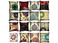 cushion covers only diffrent designs cotton 3d silk pair £8