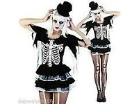 SKELETON LADY FANCY DRESS OUTFIT SIZE 8/10 GREAT FOR A HALLOWEEN PARTY