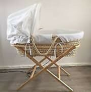 Mamas and papas moses basket with stand,bedlinen, hood & mattress