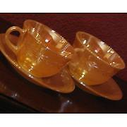 Set of 4 Vintage Fire King Peach Cups & Saucers