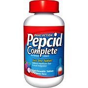 Pepcid Complete 100 ct chewable berry flavor antacid dual action acid reducer