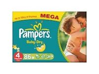 Pampers Baby-Dry Nappies Size 4 Mega Pack (86)