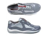 Prada Leather America's Cup Mesh Grey Trainers, Size 9