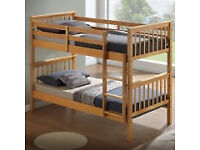 Solid, bunk bed, in pine or white, with, mattress, oak or white, changes to single beds.