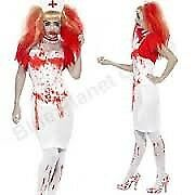 ZOMBIE /WALKING DEAD BLOODY NURSE SIZE 16/18 FANCY DRESS OUTFIT HALLOWEEN FREE BLOODY TIGHTS