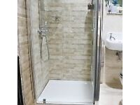 Pivot door shower cubical + tray + panels + fittings (NO SHOWER)
