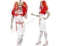 ZOMBIE /WALKING DEAD BLOODY NURSE FANCY DRESS size 12/14 HALLOWEEN FREE BLOODY TIGHTS