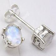 GENUINE RAINBOW MOONSTONE AND STERLING SILVER STUD EARRINGS