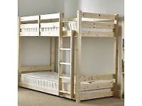 Pluto 3ft Single SHORT LENGTH Solid Pine Bunk Bed including mattresses