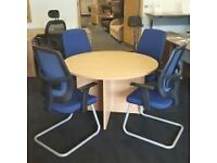 Beech Circular Meeting Table and Chairs