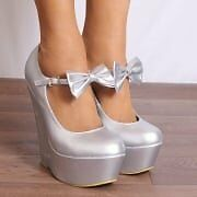 silver wedge shoes with bows size 6
