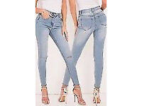 3 Pairs Skinny MISS PAP JEANS Stonewash/light blue ripped knee and Khaki Tube SIZE 6 NEW W Post