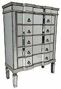 NEW BOXED VINTAGE GLAM MIRRORED 5 DRAWER CHEST